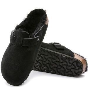 Birkenstock Black Shearling Suede Clog Size 39